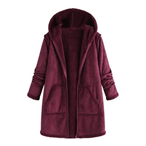 i-uend 2019 Damen Mantel - Hooded Flauschige Feste Winter Herbst beiläufige Gestrickte Lange Pullover Baumwolle Strickmantel Mantel mit Tasche