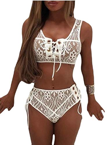 Go First Frauen Sexy Bikini Sets Schnüren Badeanzug 2 STÜCKE Front Tie Side Bottom Body Suit Spitze Badebekleidung Badeanzüge (Color : Weiß, Size : X-Small)