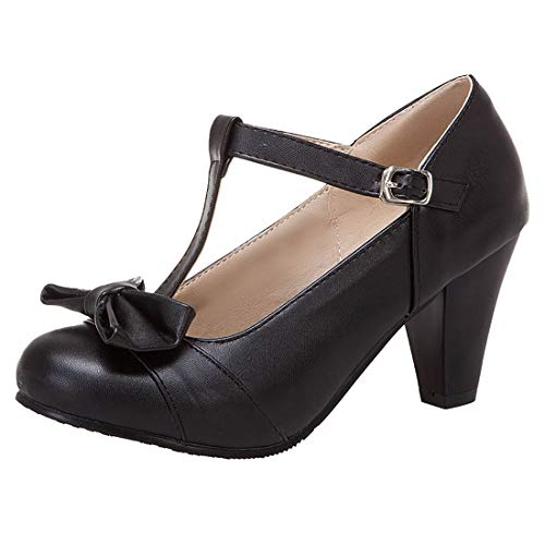 KIKIVA Damen T-spangen High Heels Mary Jane Pumps mit Blockabsatz und Schleife Rockabilly Schuhe(Schwarz,39)