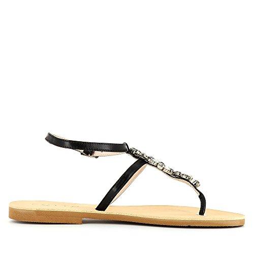 GRETA Damen Sandale Glattleder Schwarz