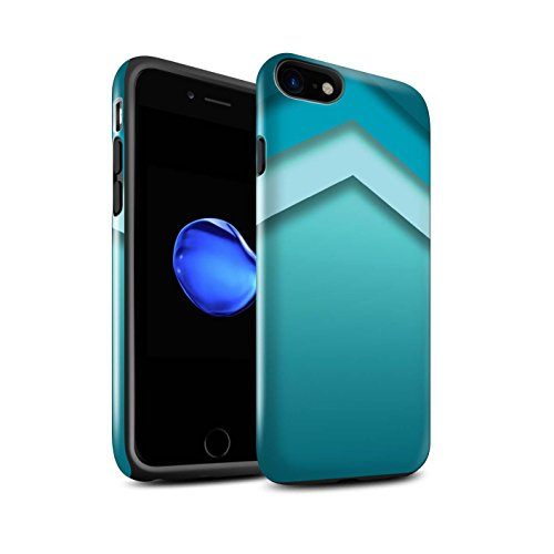 STUFF4 Glanz Harten Stoßfest Hülle / Case für Apple iPhone 7 / Quatrefoil/Klee Muster / Teal Mode Kollektion Zickzack Kunst