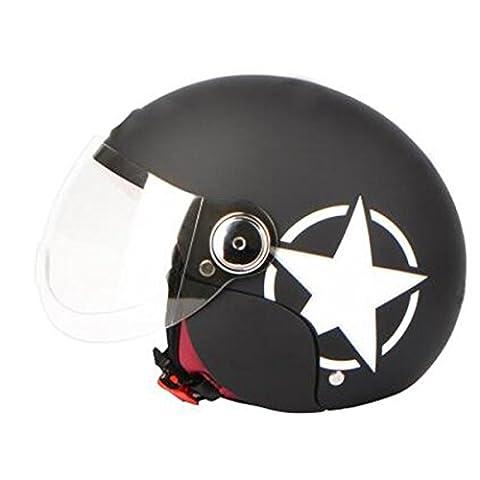 TZQ Casque De Moto Léger Lady Open Men Helmet Goggles