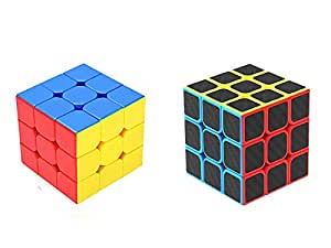 Emob High Speed Magic Combo Puzzle Brainstorming Game Toy (Carbon Fiber Sticker & Stickerlss 3x3)