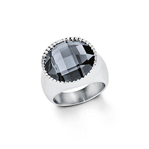 s.Oliver Damen-Ring Edelstahl Glas 50823, Schwarz/ Silber, 52