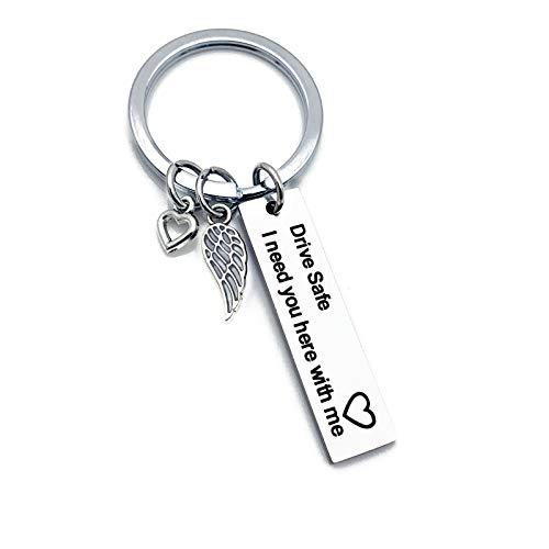 Anyeda Schlüsselanhänger Damen Edelstahl Rechteck Drive Safe Handsome. I Love You Witzige Schlüsselanhänger Silber Style N 1X4Cm (Schiff Armbänder Freund)