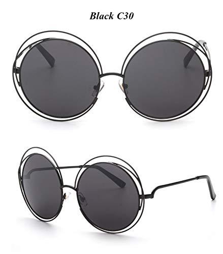 WDDYYBF Sonnenbrillen, Casual Comfort Runde Wire Frame Beschichtung Intage Fgrayion Sonnenbrille Frauen U 400 Schwarz