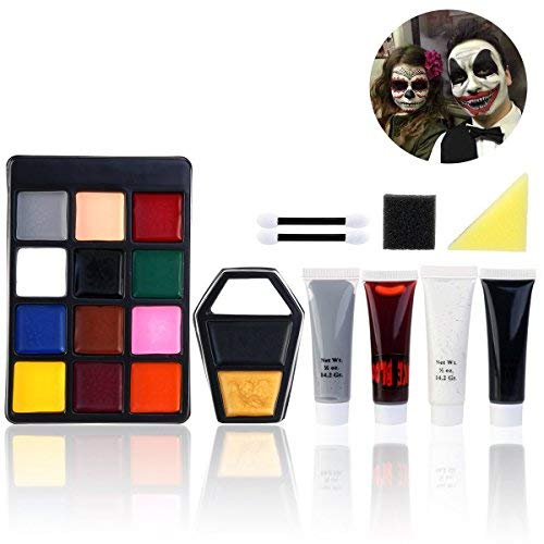 Unomor Halloween Schminke Make up Kit Hexe Zombie Clown Schminken (Style ()
