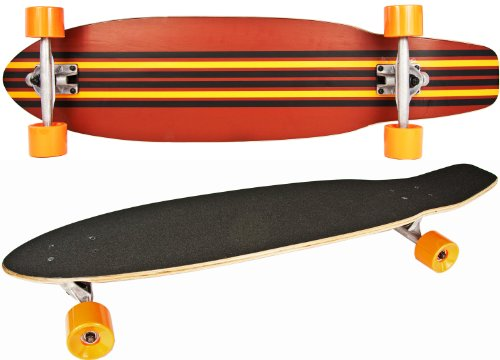 Long-Board Skate-Board Holz 92cm 36 inch Komplett-Board 5 Schicht Ahorn-Holz Orange gelb schwarz High Speed Kugellager weiche Rollen Skater Cruiser