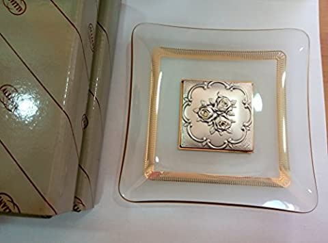 GLASS PLATE WITH GOLD TRIM AND LASTA STERLING SILVER ENGRAVED RELIEF IF IT IS MOULDED OR EMBOSSED ROSE ALLIANI BOX, MADE IN