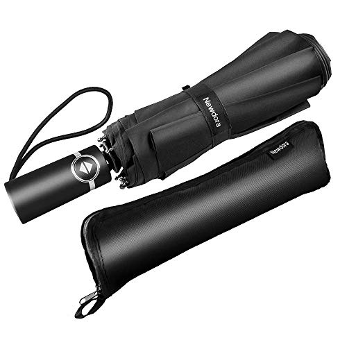 Newdora ombrello portatile automatico antivento, ombrello pieghevole compatto resistente leggero con custodia impermeabile e 10 stecche rinforzate in teflon, per uomini e donn