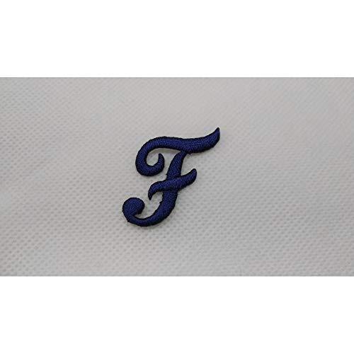 Letra de termo-adhesivo bordado de punto completo cursiva marbet alta de 25 mm de color Azul Oscuro - Lettera F