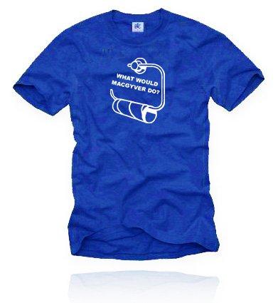 MAC GYVER. T-Shirt Größe XL - Royalblau/Weiss