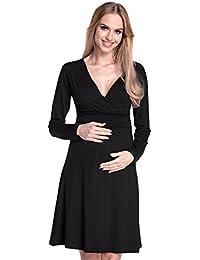 Happy Mama. Mujer Maternidad Jersey Vestido Largo Mangas Bebé Ducha. 890p