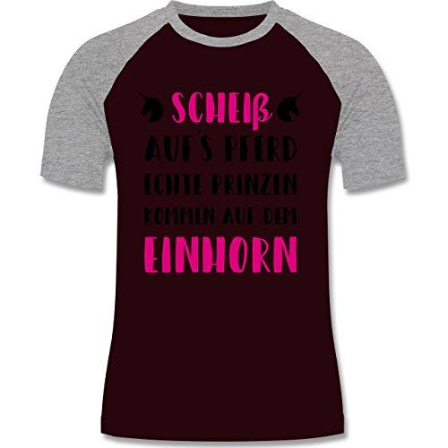 Statement Shirts - Scheiß aufs Pferd echte Prinzen kommen auf dem Einhorn - zweifarbiges Baseballshirt für Männer Burgundrot/Grau meliert