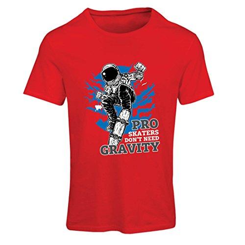 Camiseta mujer Pro Skaters Don't need Gravity - Refranes del skateboard, me encanta patinar (Small Rojo Multicolor)