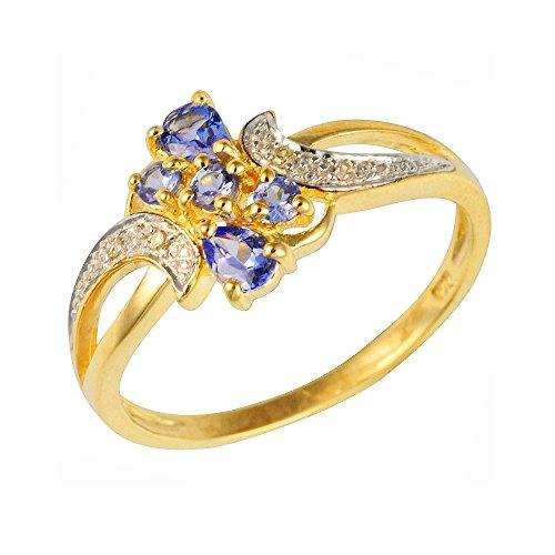 Ivy Gems Ohrstecker Gelbgold 9Karat Gold Tansanit und Diamant Fancy Twist Ring Größe-K (Größe 9 Tansanit-ring)