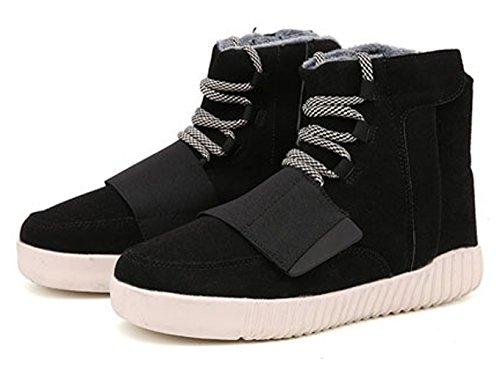 Chaussure de coton sportif basket mode velours chaude compensé pour amoureux homme femme adulte mixte Noir