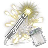 50 LED Lichterkette mit Timer Batterie warm weiß Innen Außen XMAS transparentes Kabel