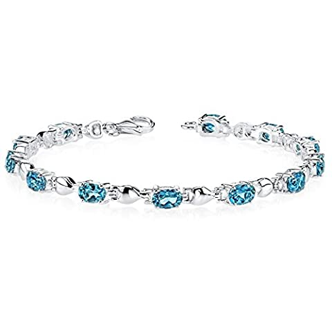 Revoni Exquisite Classic: 5.50 carats total weight Oval Shape London Blue Topaz Gemstone Bracelet in Sterling Silver