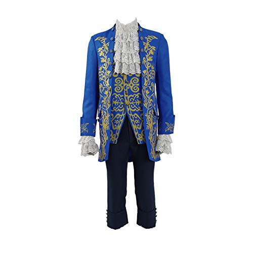 IDEALcos Herren Beast Prince Cosplay Aristokrat Kostüm Anzüge (M, Blau) (Aristokrat Kostüm Für Erwachsene)