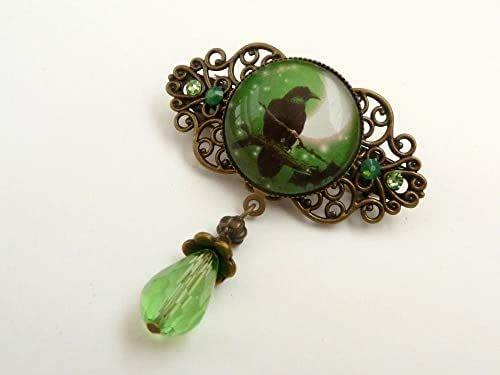 Piccolo fermaglio per capelli con corvo in bronzo verde