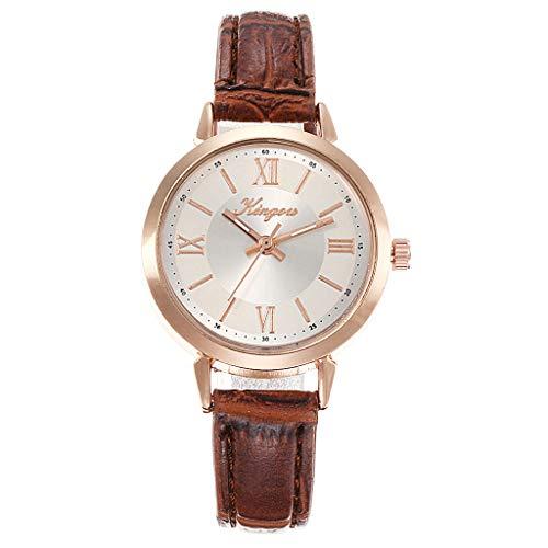 XZDCDJ Damen Armbanduhr Einfach ohne Digitalwaage Rose Gold Shell Gürtel Quarz Mode weibliche Uhr Damen Uhren Billig E - Rose Ärmellose Shell