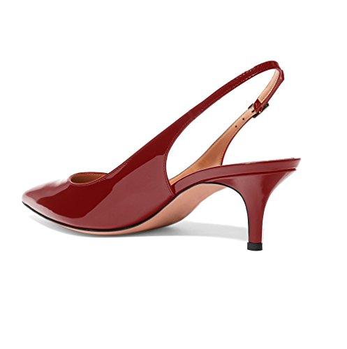 Sexy Mariage EDEFS 5CM Verni Chaussures Talon Bordeaux Escarpins Traivail Moyen Femme Aiguille 6 EEqnzBfA
