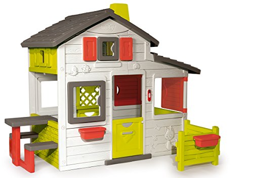 Smoby-310209 Casa Friends, Color Blanco, Verde y Gris, 149.9 x 84.8 x 39.9 (310209)