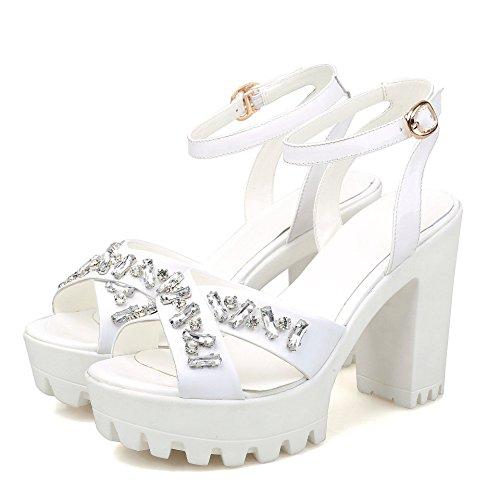 WSS chaussures à talon haut Sandales en cuir véritable strass occidentale dans les sandales d'été talons chunky bout ouvert White