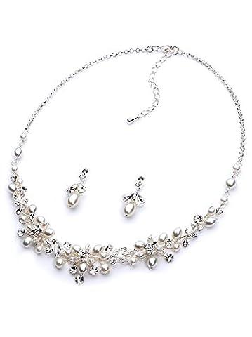 Usabride délicates Perles d'eau douce et strass mariée Bijoux, collier plaqué argent et boucles d'oreilles 1637