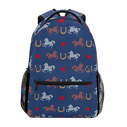 Hufeisen-muster (Rucksack Racing Pferde und Hufeisen Muster lässig Schultasche Travel Daypack)