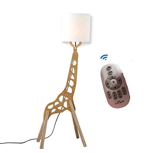 DIY Holz Original-1.1m Giraffe Fernbedienung Stehleuchte Raum Stehleuchte Variety Karikatur Tier Modellieren Shade Weiß Moderne Kühler für Schlafzimmer Wohnzimmer Einstellbare Helligkeit und Farbe -