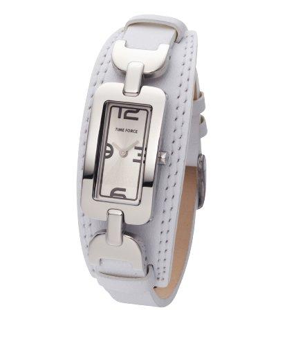 Time Force - TF3013L02 - Montre femme - Quartz Analogique - Cadran Argent - Bracelet en Cuir Blanc