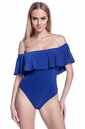 Glamour Empire. Donna Body di Seta Elastico Strati a Volant Scollo Bardot. 561 Blu Royal
