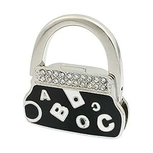 DealMux Glitter Strass Buchstabe-Muster Schwarz Handtasche Tasche Faltbare Haken Kleiderbügel