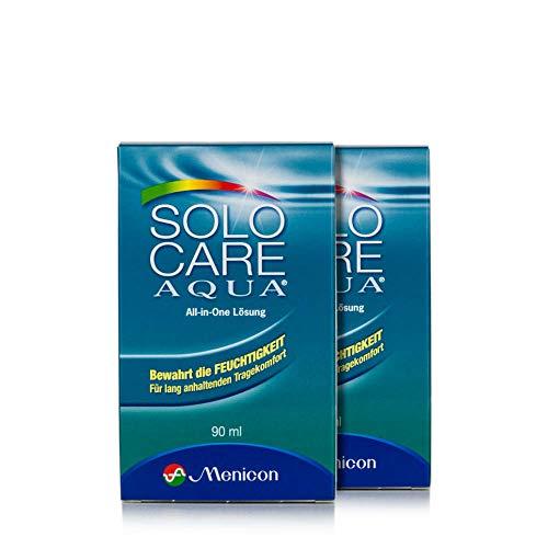 Solocare Aqua Reise-Set (90ml) - Kontaktlinsenflüssigkeit für Weiche Kontaktlinsen - Kombilösung für das Reinigen, Desinfizieren und Aufbewahren der Linse (All-In-One Lösung) (2 x 90ml)