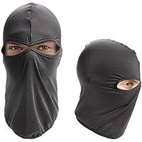 Ewin24 1pcs Ultra Thin Dos Agujeros Deportes al aire libre Cs Velo Balaclava Full Face Mask Negro (Negro)