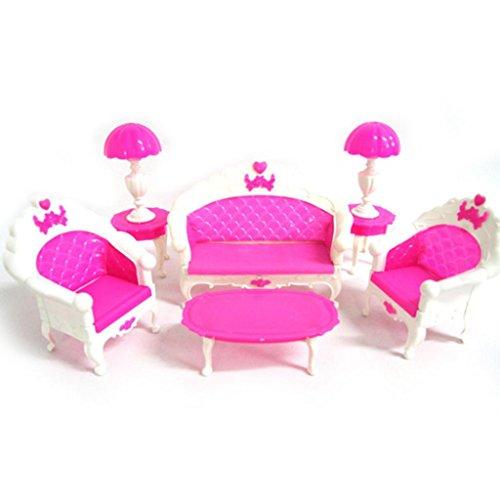 good01 Salon avec canapé fauteuils table basse et lampadaires Accessoires pour maison de poupées Barbie