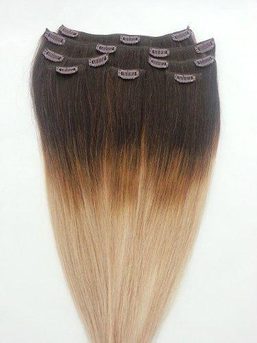 50,8 cm 7 extensions de cheveux 100% Remy Humains Ombre à clipser # T2/18 Blond Clair (Blond Foncé - Ne pas)