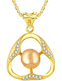 VK Jewels Pearl Studded Triangle Gold And Rhodium Plated Alloy CZ American Diamond Pendant With Chain For Women...