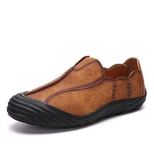 Apragaz Mens Casual Dress Schuhe Mode-personalisierte Nähende Flache Müßiggänger Leichte Weiche rutschfeste Oxford-Schuhe Aus Leder Mit Runder Kappe (Color : Braun, Größe : 43 EU) (Größe Braun Kleid-schuhe 13 Mens)