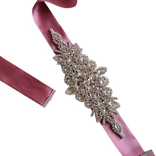 Jagetrade cintura in vita, women wedding sash elegante con strass romboidale in nastro di cristallo da sposa ampia cintura con cintura gioiello vestito fascione a fascia, 270x4cm nuda rosa
