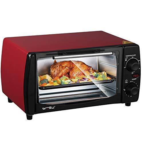 WOLTU BF08rt Mini Backofen 12 Liter Pizzaofen Doppelglastür mit Backblech und Drehspieß mit Timer 0-250°C 800 Watt Rot