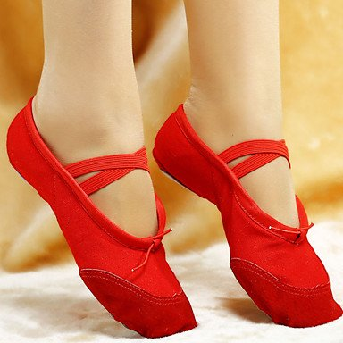 Ruhe @ Damen Tanzschuhe Ballett Leder/Canvas flach Ferse schwarz/pink/rot/weiß Weiß