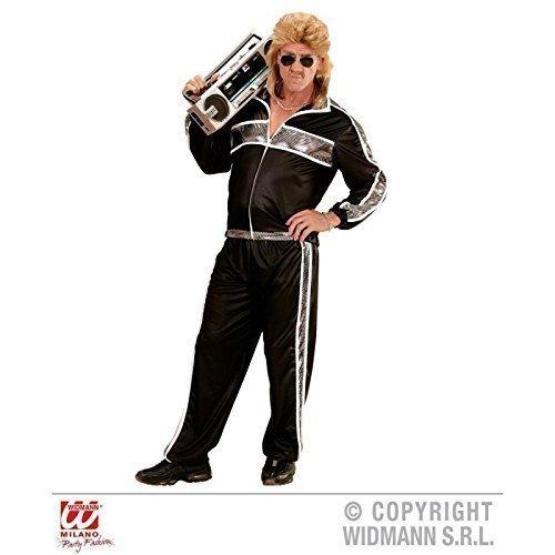 Wild Child Jahre 80er Kostüm - Lively Moments Jogginganzug / Trainingsanzug / Kostüm / Herrenkostüm / Männerkostüm 80er / 80 er Jahre in schwarz - silberfarbend Gr. S / 48