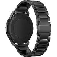 Omter für Samsung Gear S3 Classic/Frontier Armband Edelstahl Metall Armband Armband Ersatz Uhrenarmband(Schwarz)