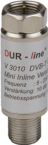 DUR-line® V3010 - Mini Inline Verstärker, Verstärkung 10 dB, für Sat und DVB-T2, 5-2400 MHz - Telefon Fall Verstärken