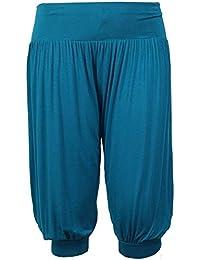 Janisramone leggins las mujeres 3/4 lisos ali baba holgados sueltas esposaron harén pantalones pantalones tallas SM, ML, XL, XXL, XXXL