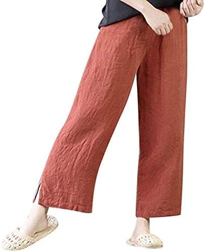 Damen Hohe Größe Breites Bein Yoga Laufen Hose Yogogo Große Größe Sommer Baumwolle Leinen 3 4 Leggings Lose Vintage...
