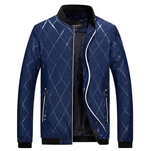 Manadlian Reißverschluss Mantel Jacket Stehkragen Slim Strickjacke Warmer Herrenjacke Winter Fit Baseball thdsQCr